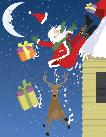 illustration of Santa Falling Off a Roof