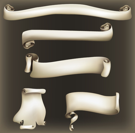 vintage scrolls: illustration of various scrolls, with mesh shading and a dark vintage style background.