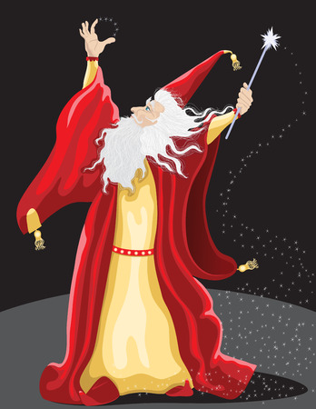 illustration of a wizard with a wand of stars gazing up in a red fancy robe.