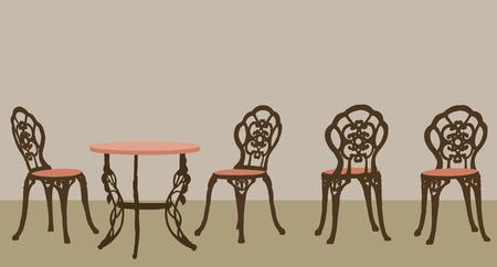 Set of ornate table and chairs.