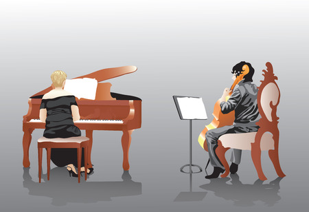 classical theater: Two women one playing a cello the other the piano.