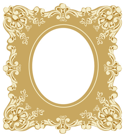 Victorian Style Picture Frame on White Background. Illustration