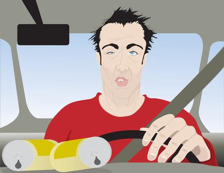 Drunk Man Driving Close Up Illustration