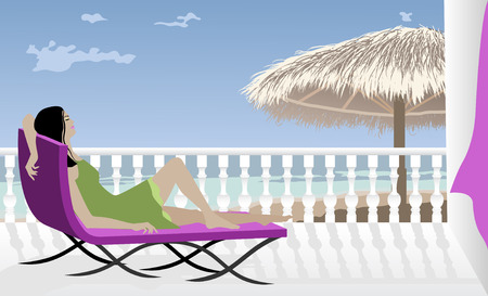 balcony view: Vector illustration of a Woman Relaxing on Vacation Illustration
