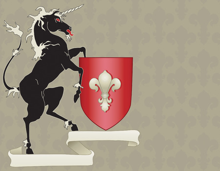Heraldic Style Black Horse Motif with double scroll and crest
