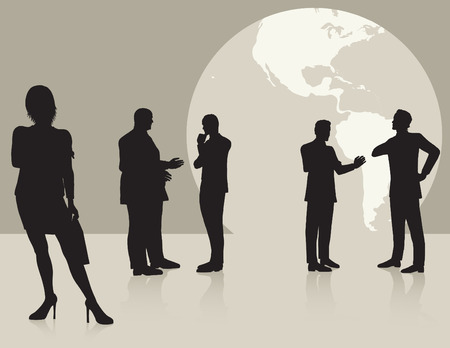 silhouettes people: Woman in forground men in background in front of large globe Illustration