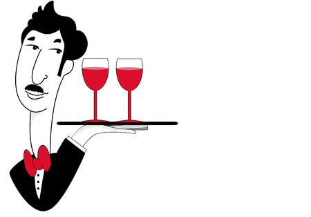 Waiter with Drinks Illustration