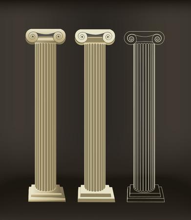 colonna romana: Oggetti colonna romana si � fatto con pendenze l'altro � fatto con colore piatto con l'ultimo a grandi linee. Vettoriali