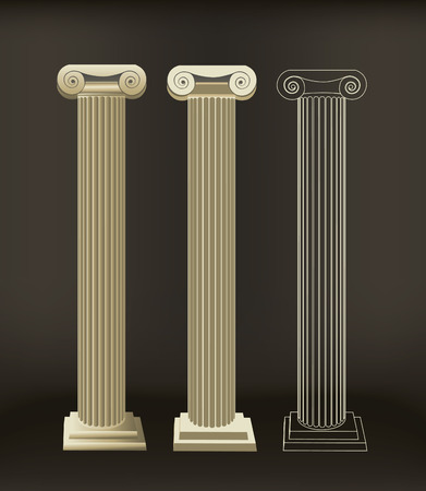 Roman column objects one is done with gradients the other is done with flat color with the last one in outline. Illustration