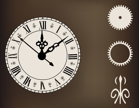 12 o'clock: Ornate Clock with Design Element Gears