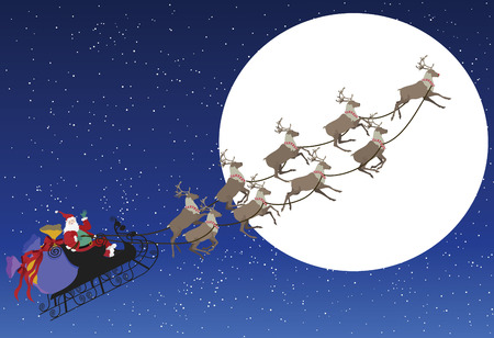 Santa on his sleigh with reindeer's with a full moon in the background as he waves.