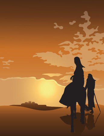 Mary and Joseph Travel to Bethlehem at Sunset