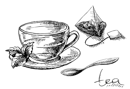 Cup of tea and mint and tea bag in graphic style, hand-drawn vector illustration.
