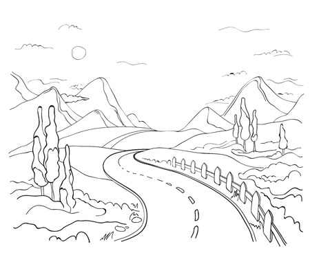winding: winding road in the mountains Illustration