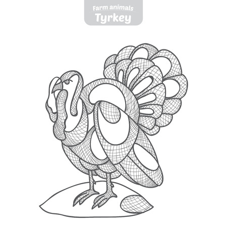 fowls: Turkey hand drawn vector illustration.