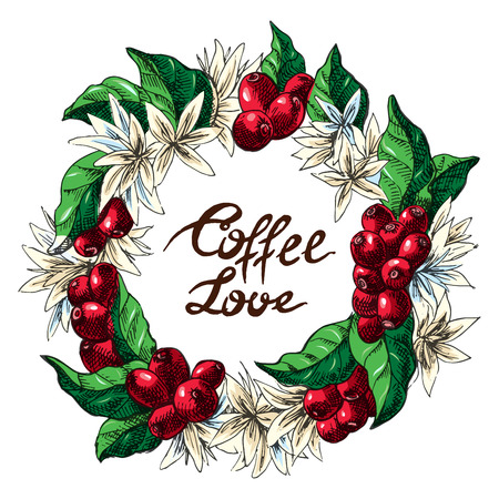 Watercolor wreath from coffee beans and berry in graphic style, hand-drawn vector illustration.