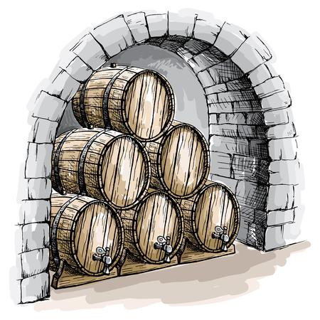 Waterverfwijnkelder met vaten in grafische stijl hand-drawn vectorillustratie