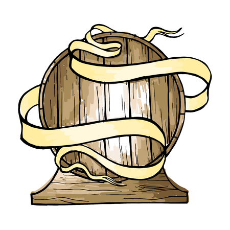 Watercolor wooden barrel wrapped in ribbon in graphic style hand-drawn vector illustration