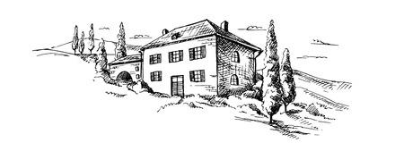 Bergen landschap en kasteel in grafische stijl, hand getekende vector illustratie.