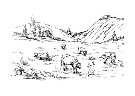 Landelijk landschap met koeien en boerderij met berglandschap op achtergrond in grafische stijl Stock Illustratie