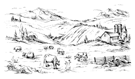 Rural landscape with cows and farm with mountain scenery in background in graphic style