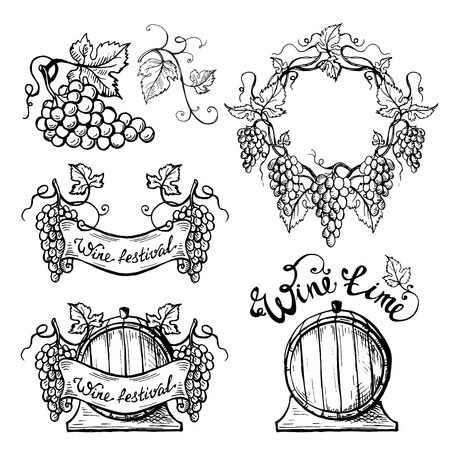 Set of wine emblems in graphic style hand-drawn vector illustration