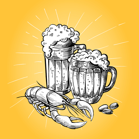 Collection of beer items mugs peanuts and red cancer in graphic style vector illustration