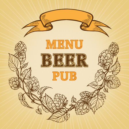 icon for a menu with branches of hops and ribbon