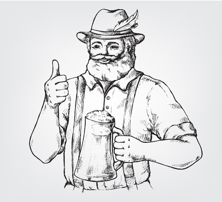 Happy brewer or craftsmans characters holding a mug full of beer in graphic style vector illustration