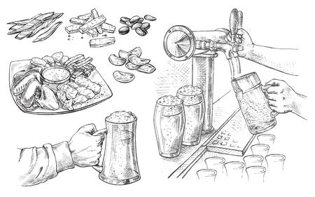 Hand houden met bierglazen mok, bierkraan, snack in grafische stijl vectorillustratie