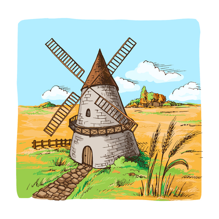 Watercolor Windmill with Wheat Fields in graphic style
