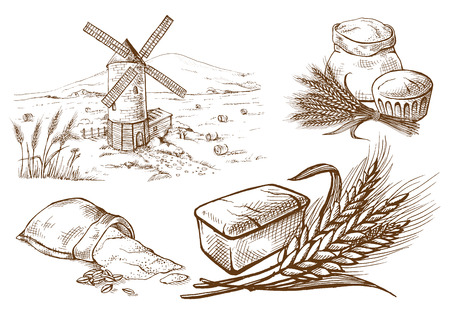 Set of fresh bread and ear sack mill in graphic style Illustration