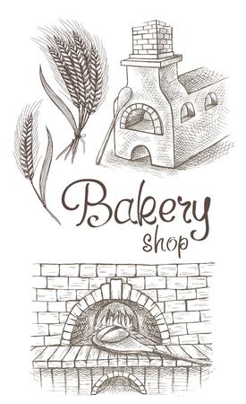 Miche de pain fraîche et un four à pain dans le style graphique