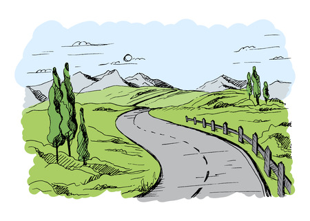 rural road: Mountain road in graphic style color vector Illustration