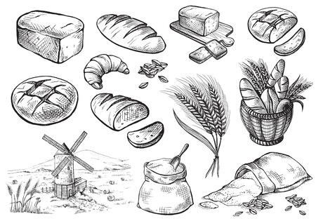 Illustration vectorielle de pain vecteur dessiné ensemble dans un style graphique Vecteurs