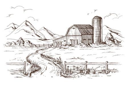 Hand drawn vector illustration sketch rural landscape field house granary Illustration