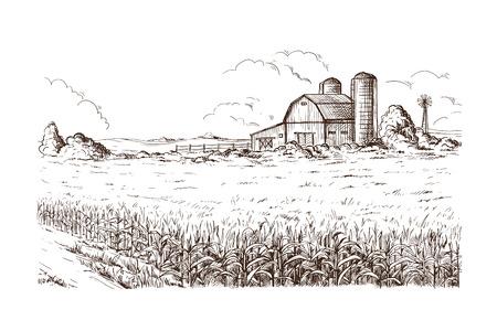 손으로 그려진 된 벡터 일러스트 스케치 농촌 풍경 필드 집 곡창