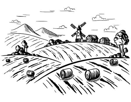 Paysage rural champ de blé en style graphique. Dessiné à la main et converti en illustration vectorielle. Vecteurs