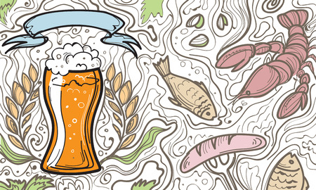 irish pub label design: Glass of beer on the doodle background. Can be used for posters, postcards, prints. EPS 10 vector background with irish proverb.