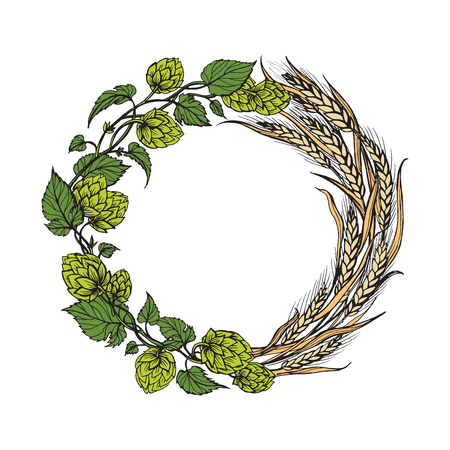 a wreath of ears of wheat and hops on old blackboard