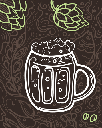Glass of beer on the doodle background. Can be used for posters, postcards, prints. EPS 10 vector background with irish proverb.