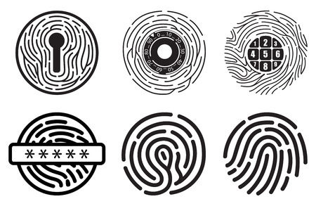 Set of fingerprint vector flat line icons. Linear fingerprints, head profile fingerprint, security shield fingerprint, locked, unlocked, log in, scanning, recognizing, shopping, document access Ilustração