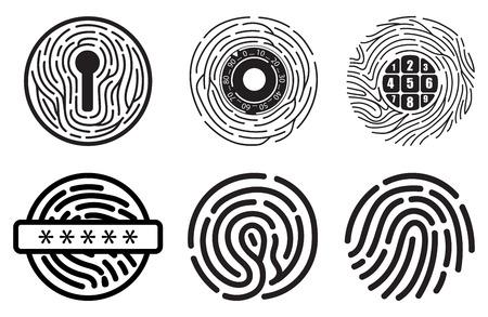 Set van pictogrammen van de vingerafdruk vector platte lijn. Lineaire vingerafdrukken, hoofdprofielvingerafdruk, beveiligingsschild vingerafdruk, vergrendeld, ontgrendeld, aanmelden, scannen, herkennen, winkelen, documenttoegang