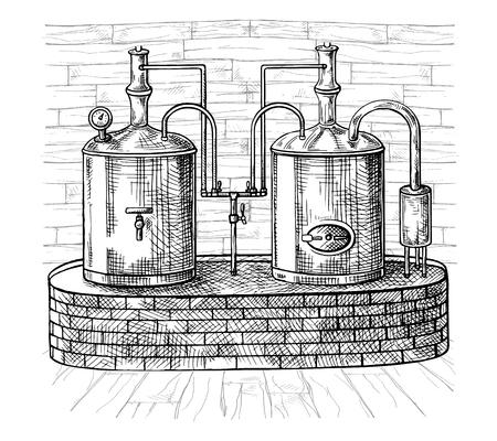 Reihe von Tanks und Holzfass in Brauerei Bier. Vintage-Vektor Gravur Illustration für Web, Poster, Label, Einladung zum Oktoberfest Festival, Party.