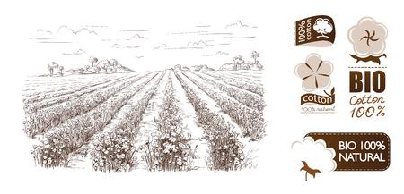 main vecteur dessiné maisons de village croquis et de la nature Illustration tirée par la main.