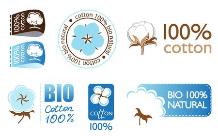 Vector cotton icons set collection logo Illustration