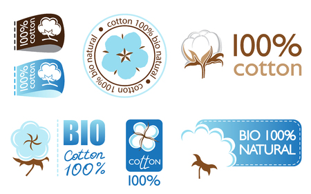 boll: Vector cotton icons set collection logo Illustration