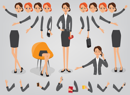 Businesswoman character creation set build your own design cartoon flat-style infographic Vettoriali