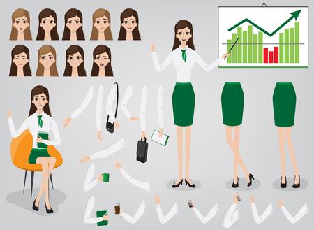 Businesswoman ofice character creation set build your own design cartoon flat-style infographic