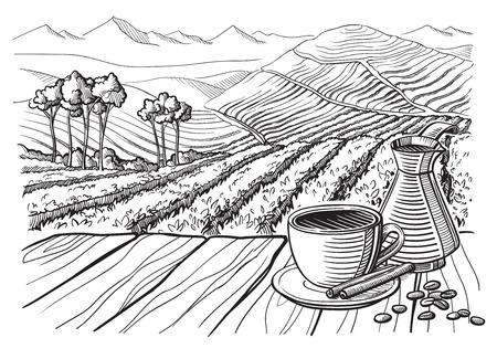 커피 농장 풍경 테이블 컵 자루 그래픽 스타일 손으로 그린 벡터 일러스트 레이 션.